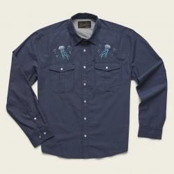 Howler Bros Gaucho Snapshirt - Deep Blue Microstripe : Jellyfish