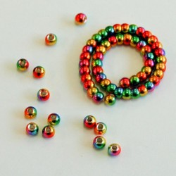 Counter Sunk, Faceted Tungsten Beads, Rainbow